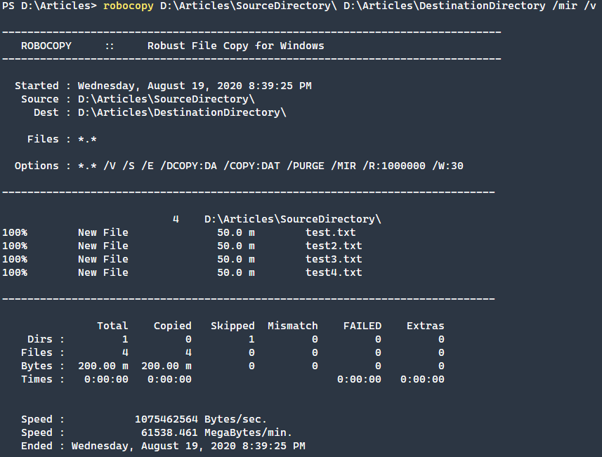Mirror files from a source directory to a destination directory