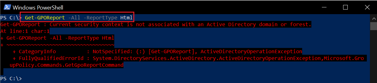 Current security context is not associated with an Active Directory domain or forest error message