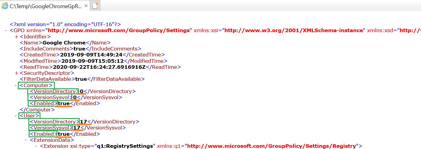 XML nodes in the XML report