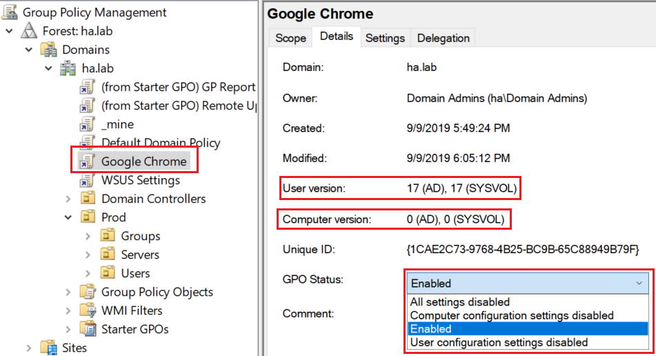 In the GPMC you may see the GPO version (for AD and SYSVOL), as well as its status (Disabled, Disabled for Computer, Disabled for User, or Enabled).