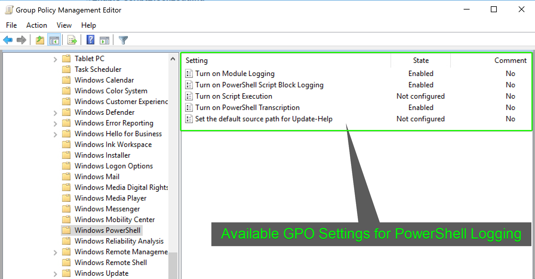 View of Available GPO Settings
