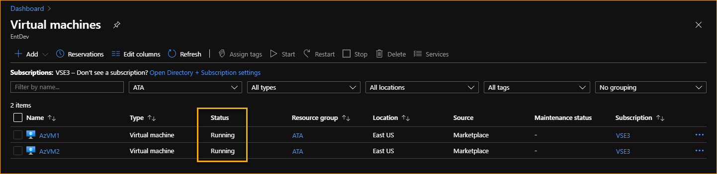 The Azure virtual machines are started using the automation runbook