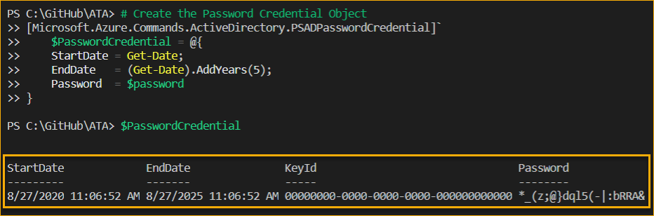 Creating the new password credential object in Azure PowerShell