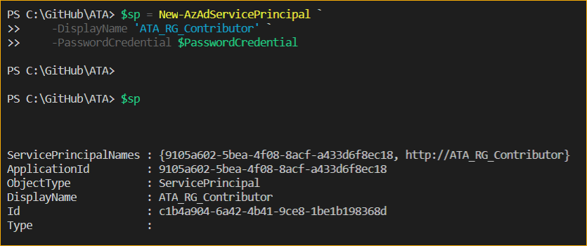 The new Azure service principal is created