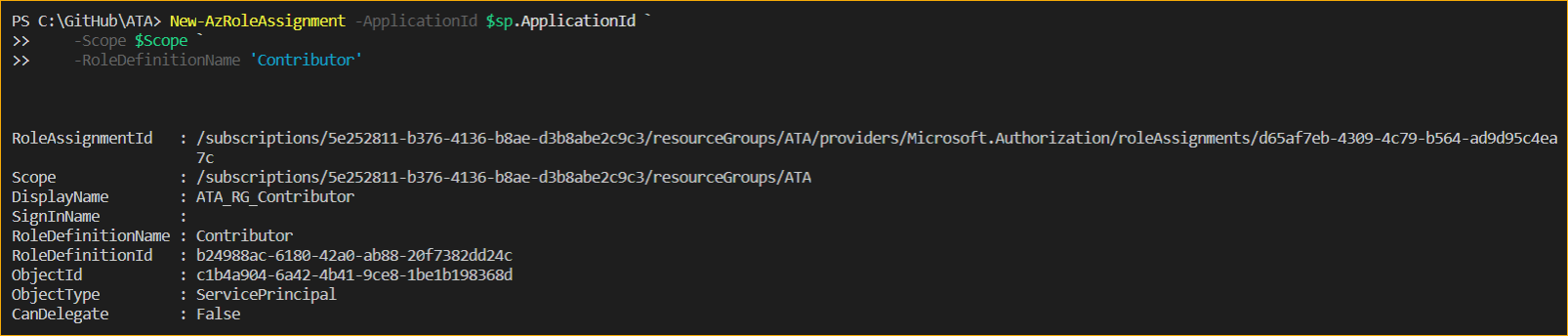 Assigning role and scope using Azure Powershell