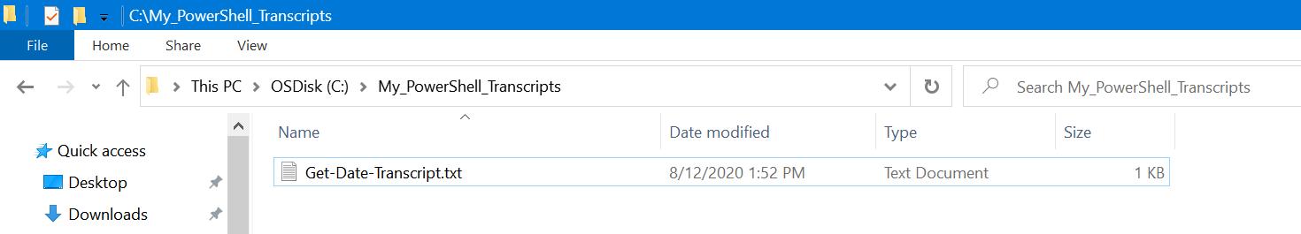 Saved PowerShell transcript