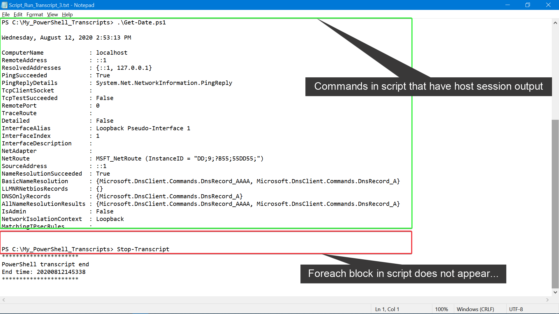 Example PowerShell transcript