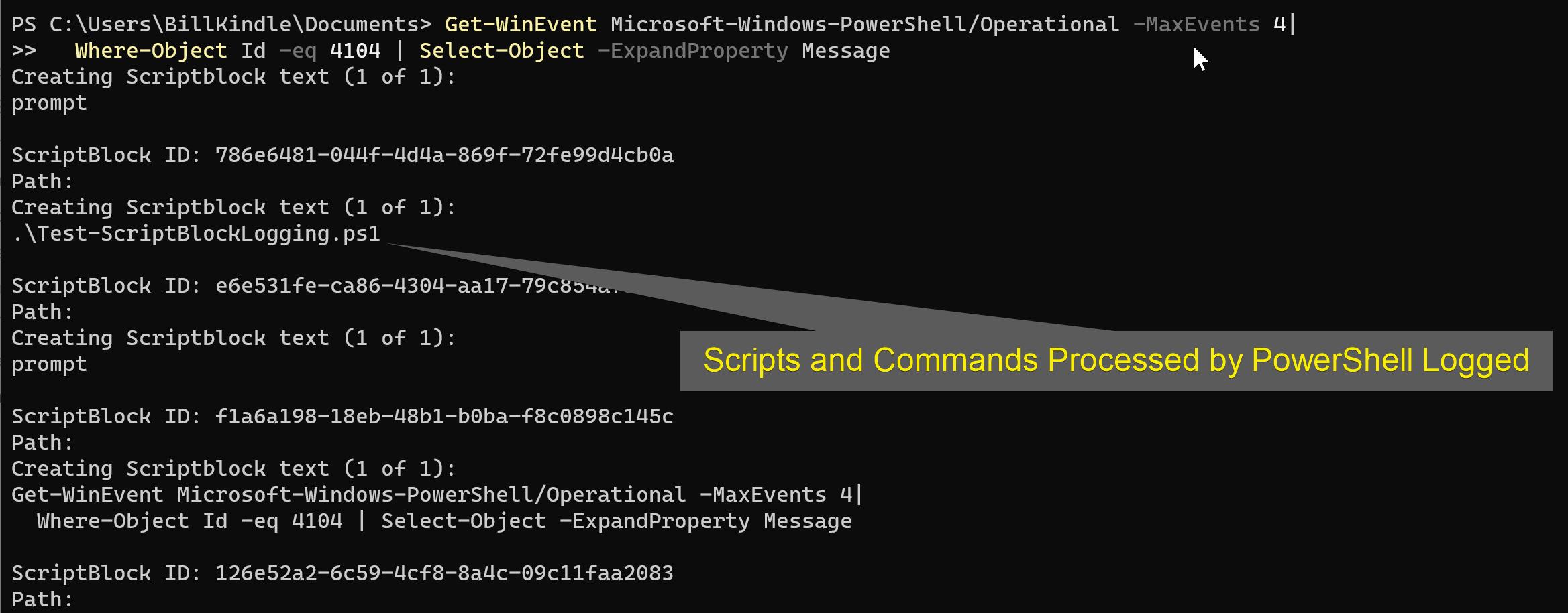 Recent Script Block Logging entries