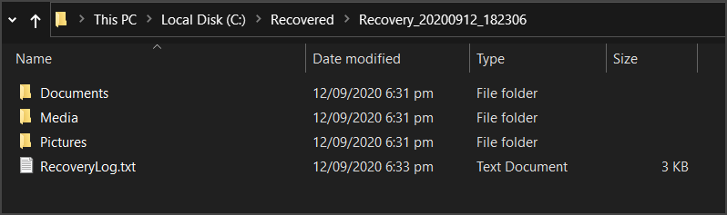 Recovered files saved to destination directory using segment mode
