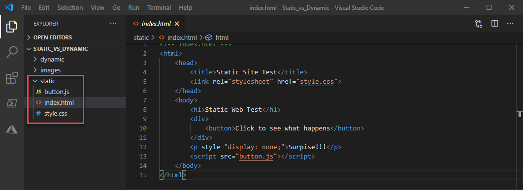 Static Website Project in Visual Studio Code