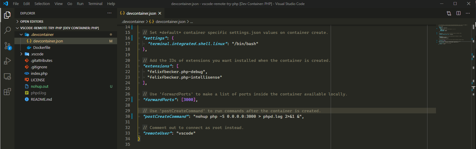 Modifying the devcontainer.json file to expose a port and start a PHP server.