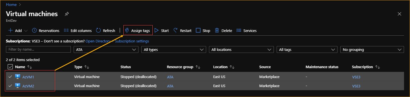 Azure Virtual Machines are selected for assigning tags