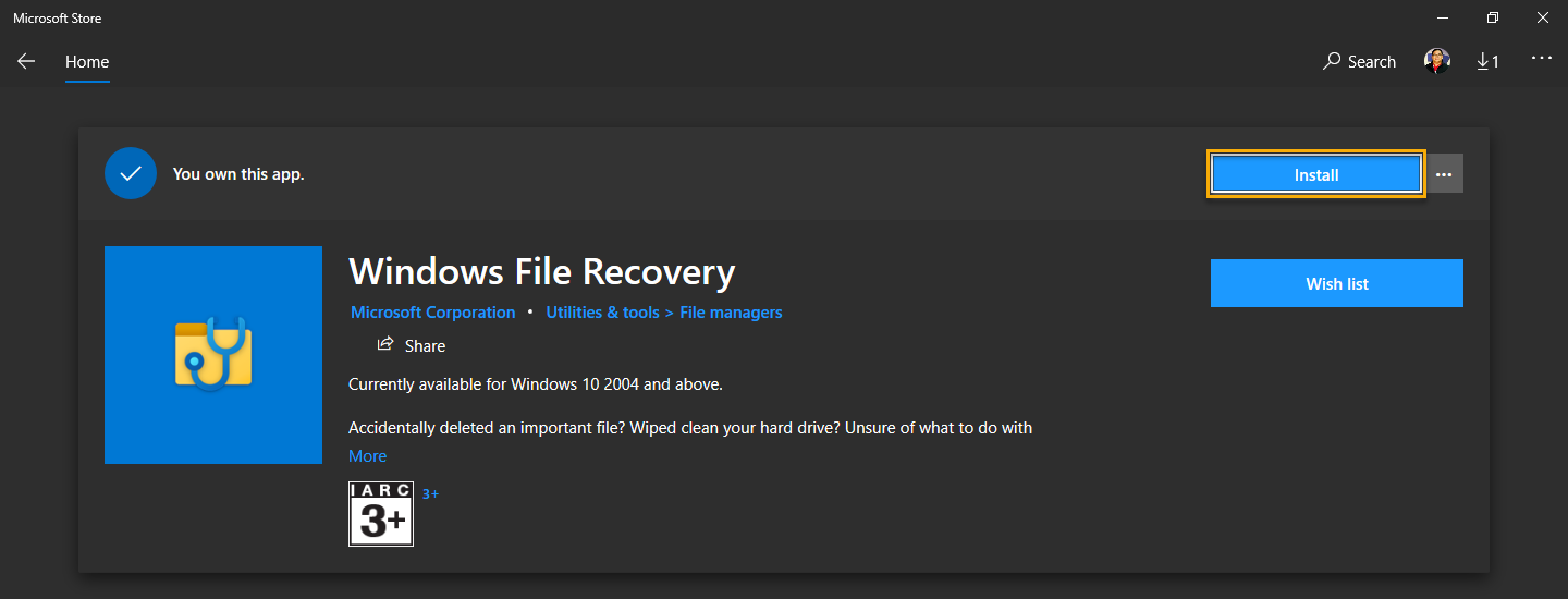 Installing WinFR from the Microsoft Store