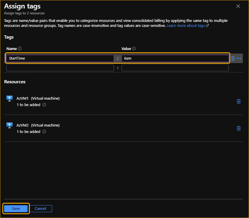 Assign tags to Azure VMs