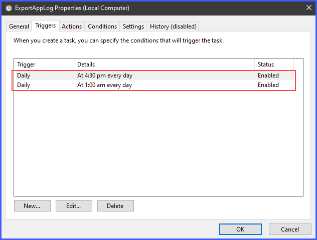 The Scheduled task with multiple triggers