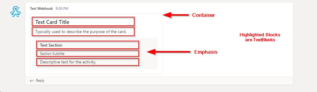 An adaptive card elements