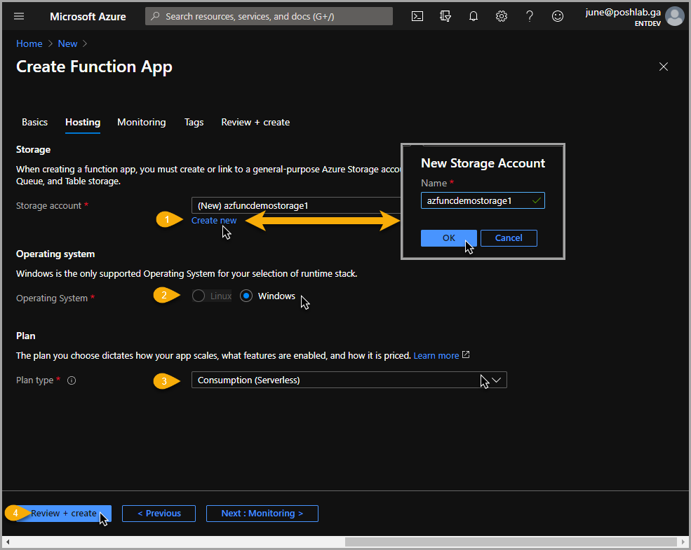 Create Function App: Hosting