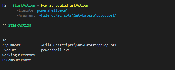 Creating a new Scheduled Task Action