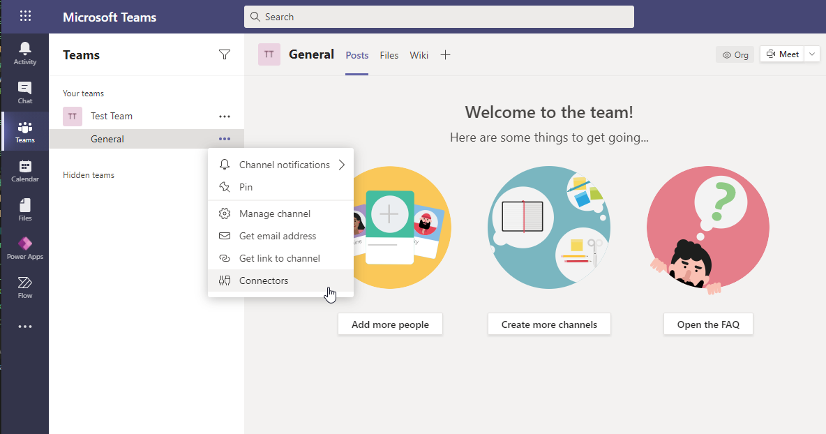 Add a connector to Microsoft Teams.