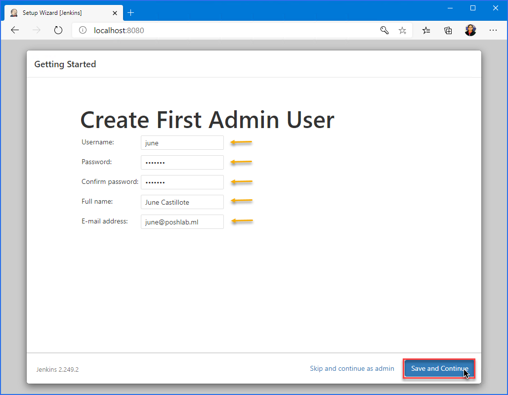 Creating the first Jenkins administrator account