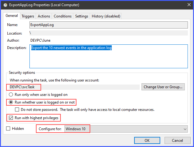 The security option, user account, and compatibility settings