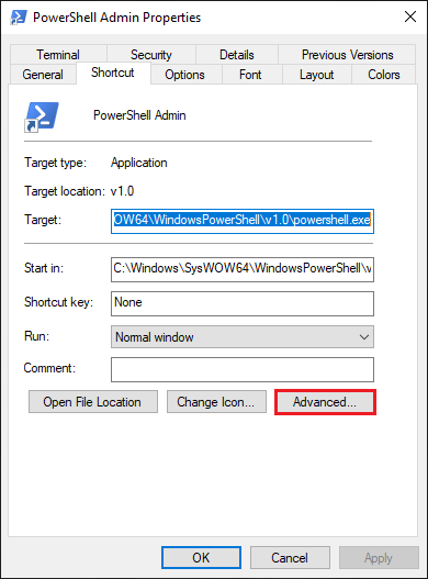PowerShell's Shortcut Properties