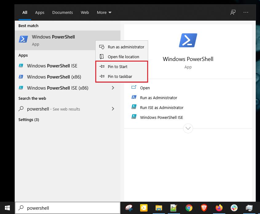 Pinning PowerShell to Start Menu or Taskbar