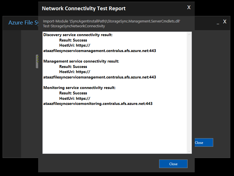 Azure Endpoint URI that was tested