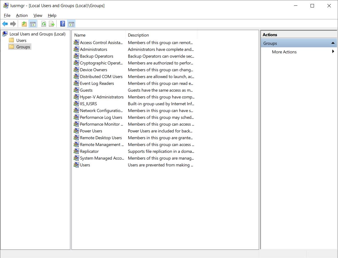 The Windows Local User Control Panel