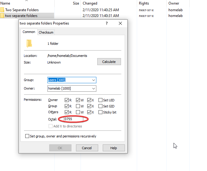 The permissions menu, as viewed remotely from a Windows machine using WinSCP