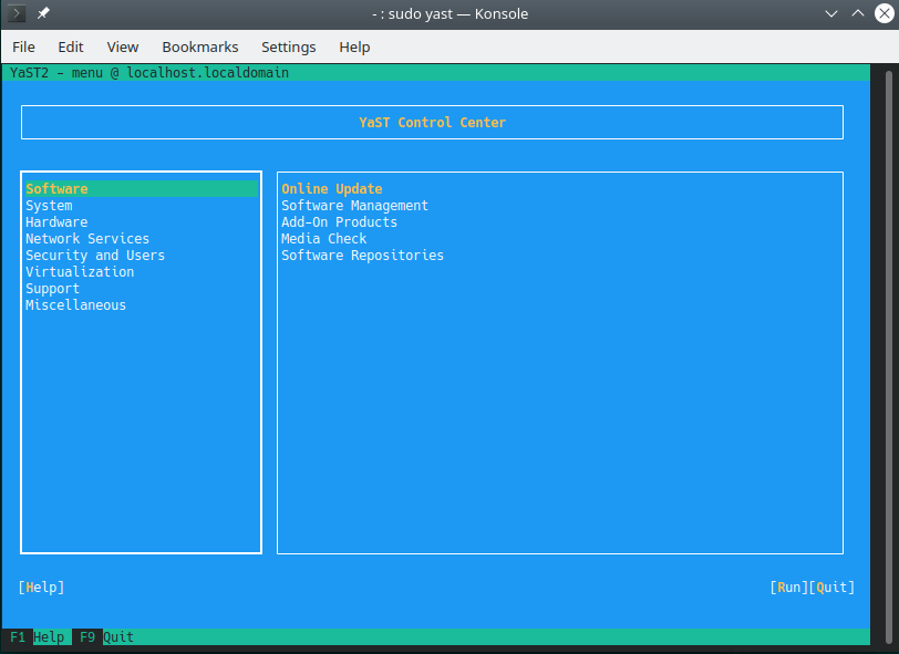 The YaST package manager, as viewed through the command line