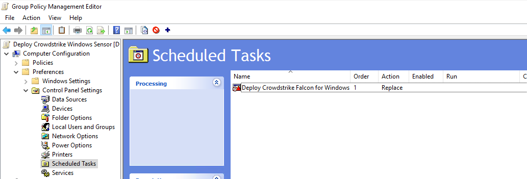 Configured GPO with Scheduled Task