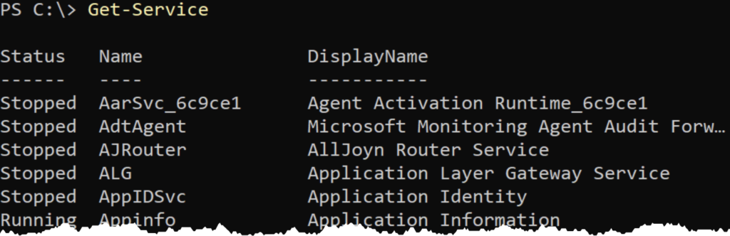 Using Get-Service to find Windows services