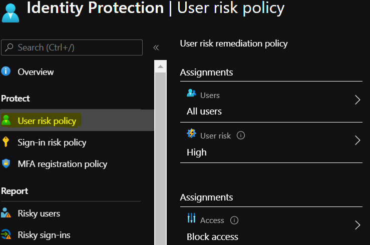 User Risk Policy Example