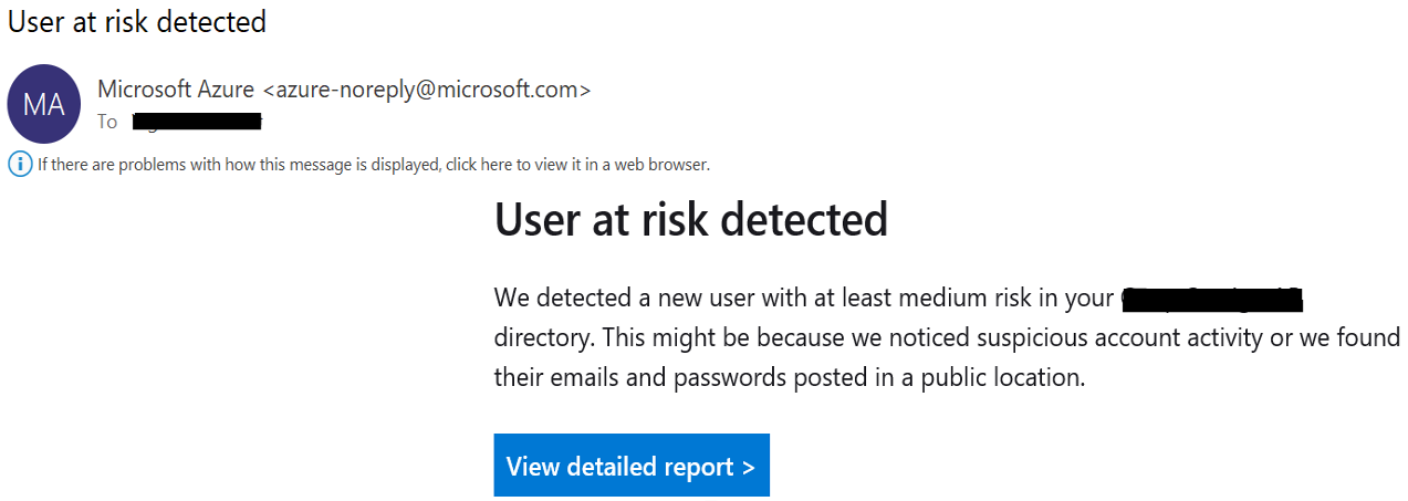 User at risk notification email