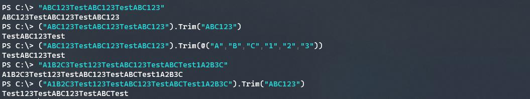Demonstrating the array based Trim method.