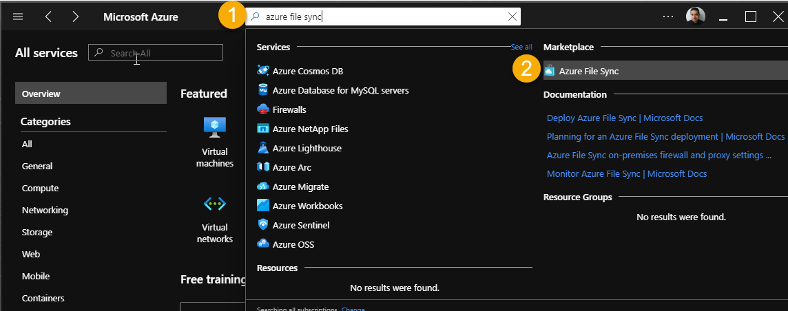Azure File Sync Service located in the Azure Marketplace
