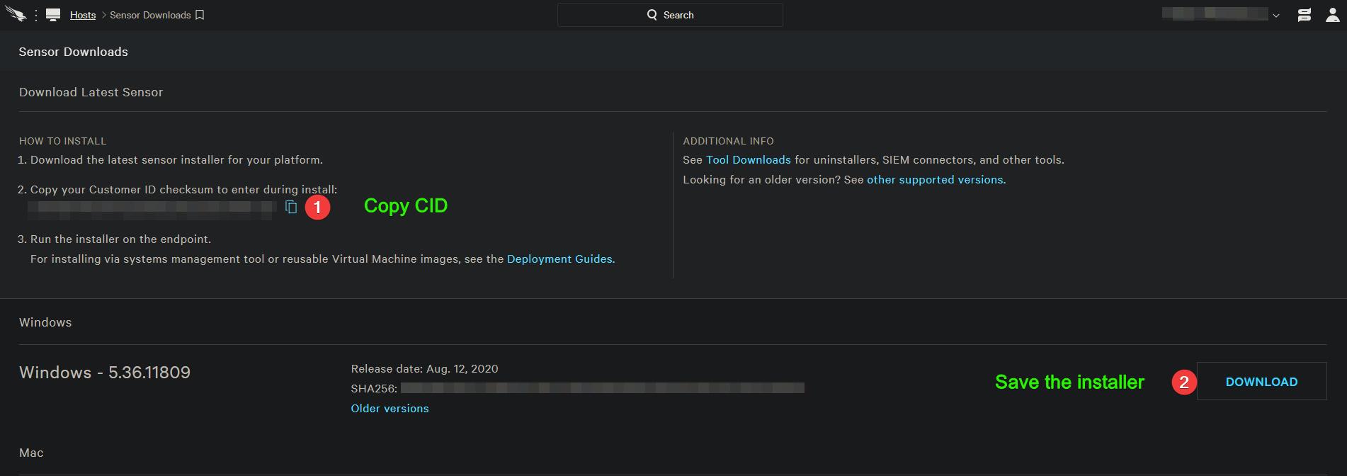 Crowdstrike Falcon Sensor Downloads dashboard