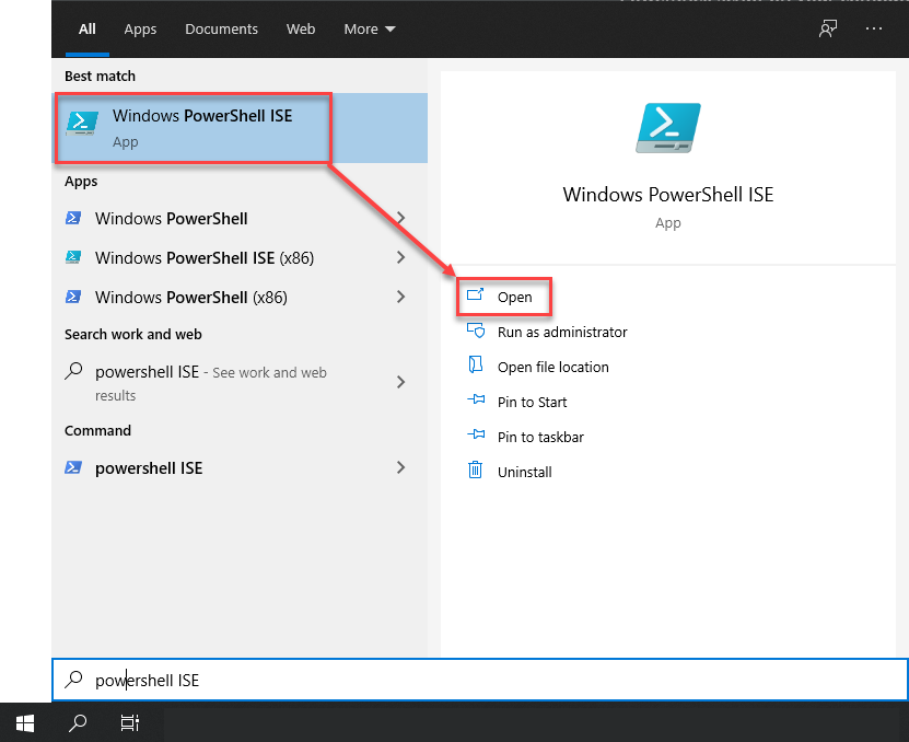 Search PowerShell ISE in Start Menu
