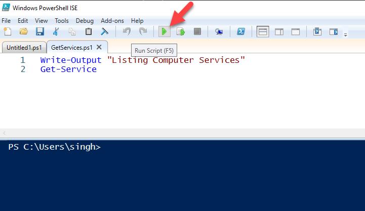Run Script using PowerShell ISE