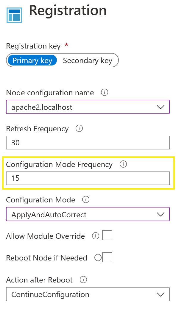 Azure Registration menu displaying Configuration Mode Frequency entry