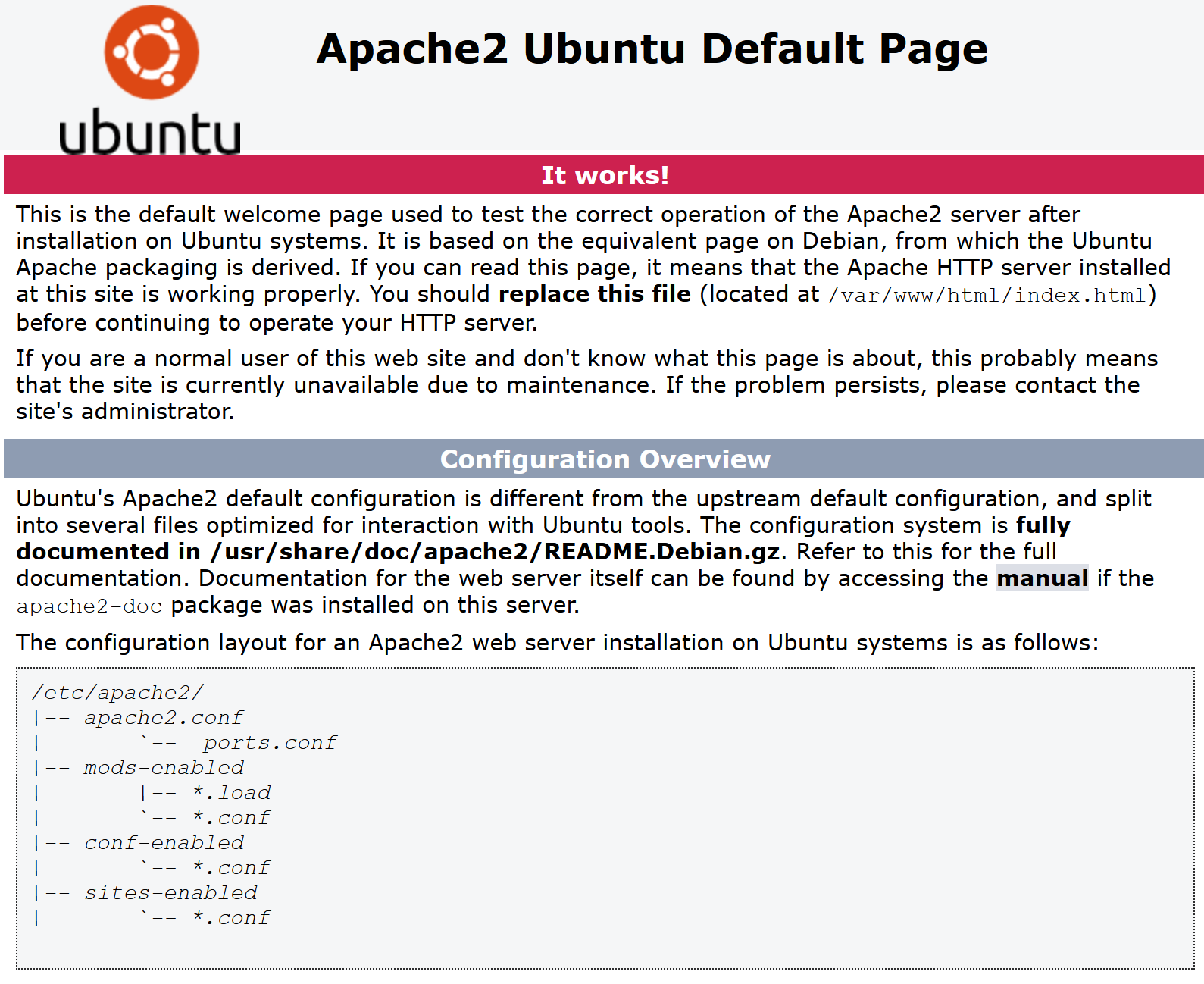 Result of successful HTTP connection to Ubuntu VM Apache web service