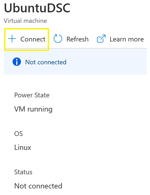 Azure Add Node menu displaying Connect selection