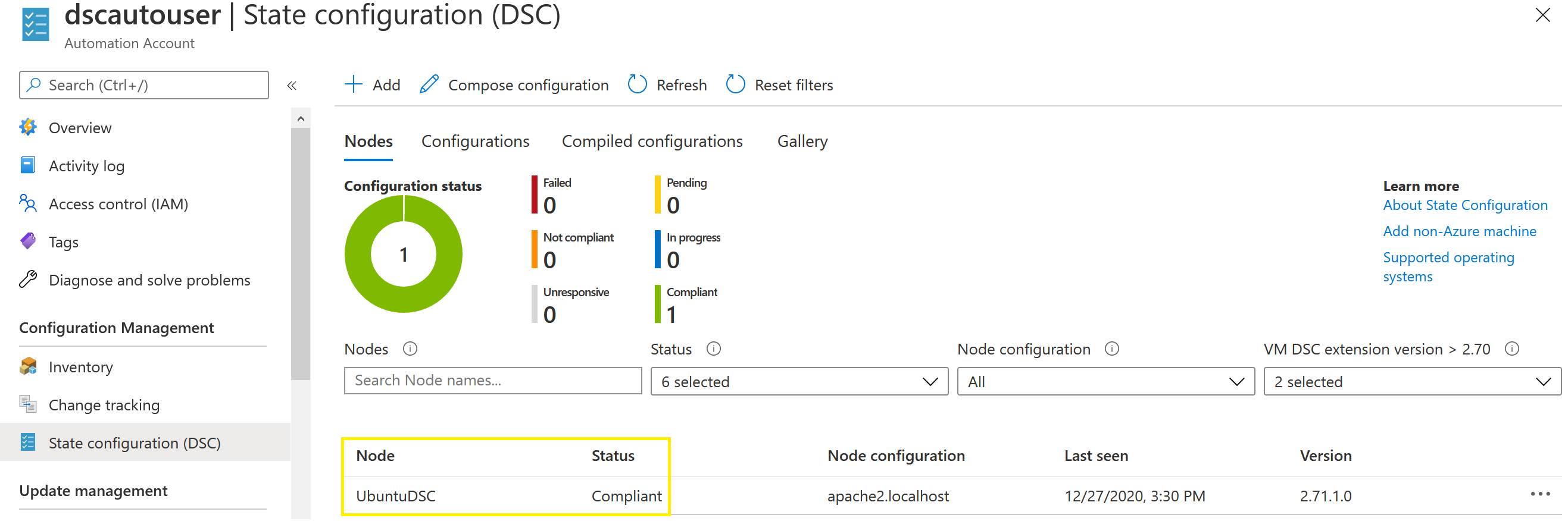 Azure State Configuration (DSC) menu displaying Compliant node