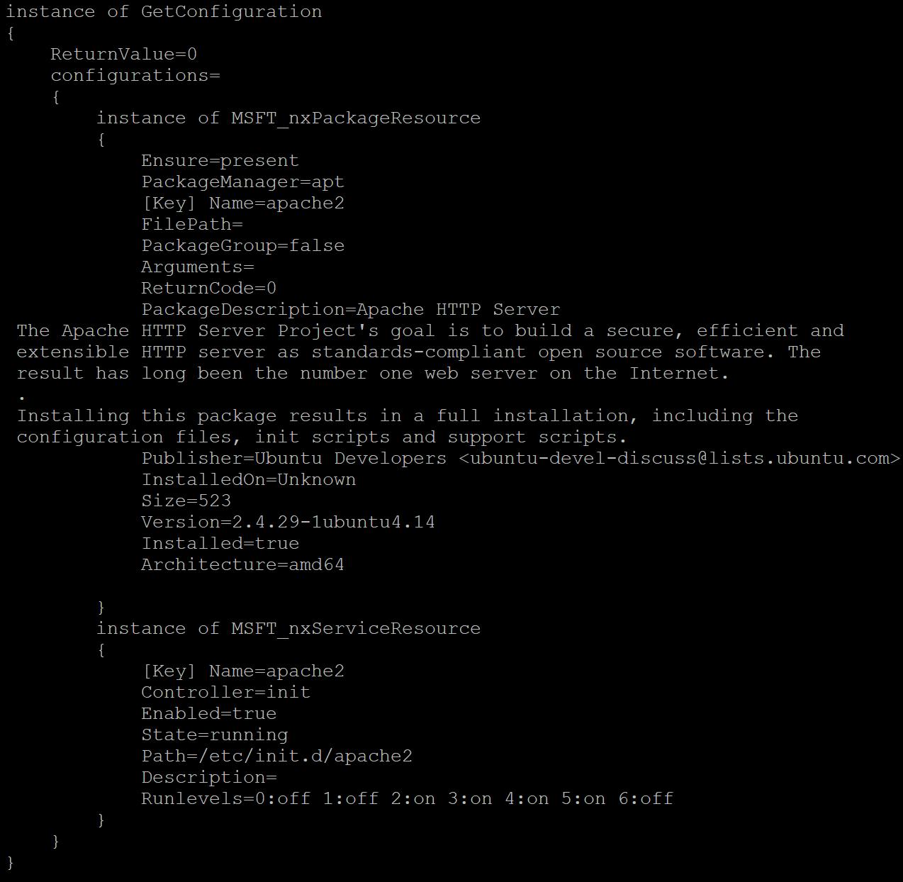 Result of GetDscConfiguration.py script