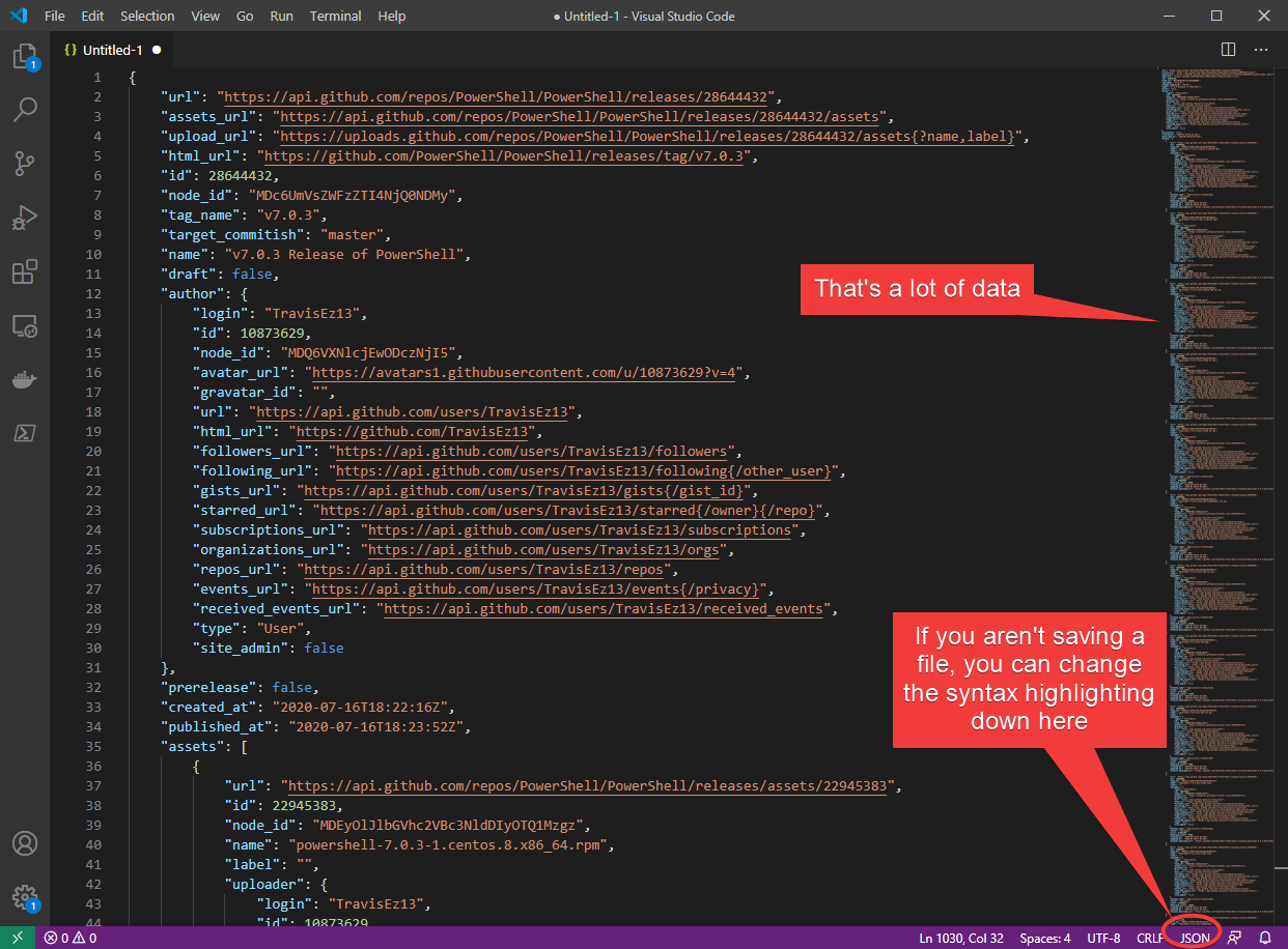 Viewing JSON in VS Code