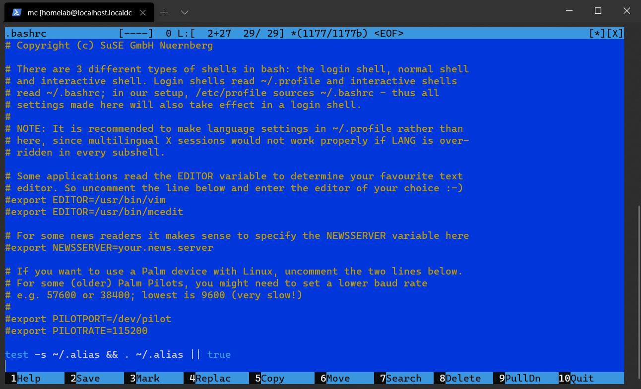 The Midnight Commander Commandline Text Editor opening ~/.bashrc