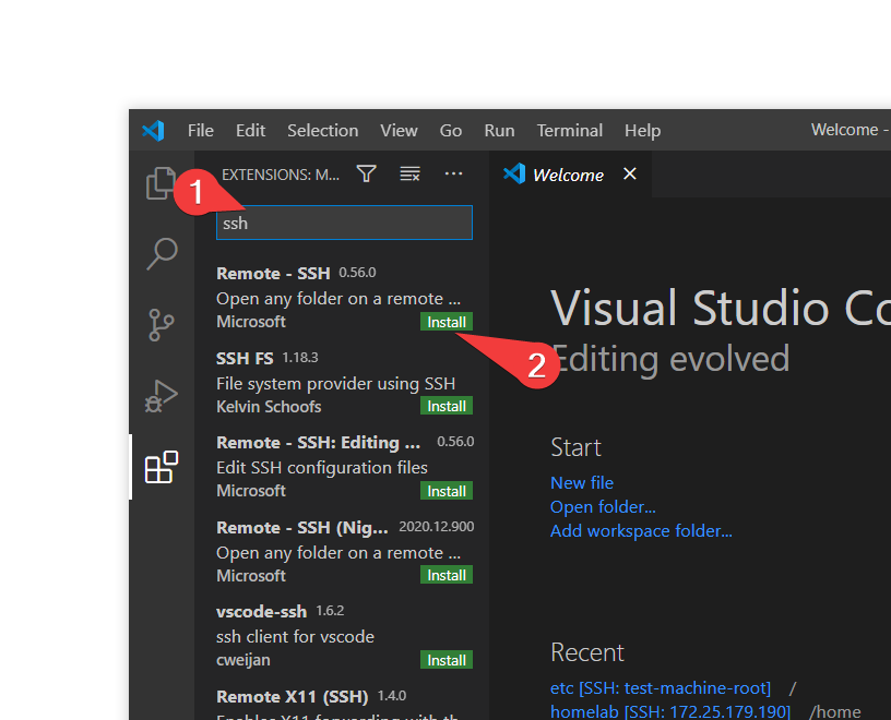 The extension marketplace of VSCode