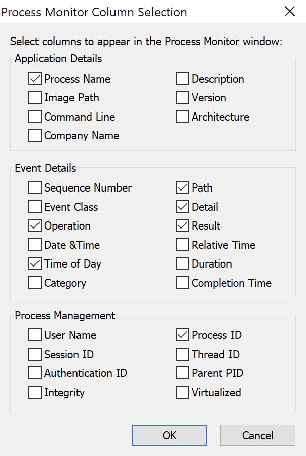 Customizing procmon columns