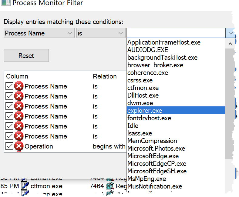 Process Name in Process Monitor Filter